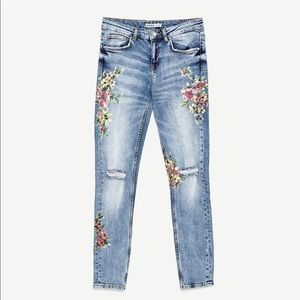 Zara Basic 1975 Floral Painted Jeans Flower 8 29